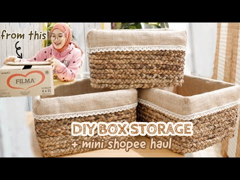 DIY ROOM DECOR #6 - Box Storage / Organizer + Shopee Haul (DIY on a Budget for Bedroom Makeover) - YouTube