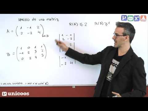 RANGO de una matriz por determinantes 01 BACHILLERATO unicoos
