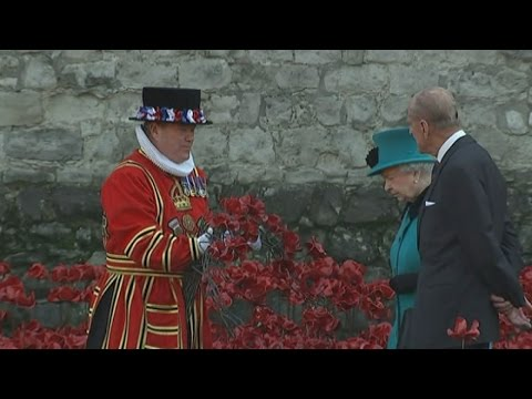 Queen visits poppy memorial at Tower of London