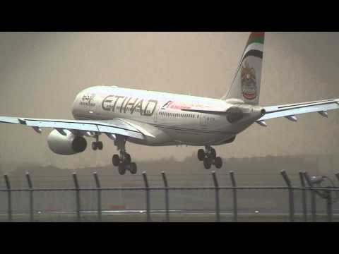 Storm!! Etihad Airways Airbus A330-243 Go Around at Narita