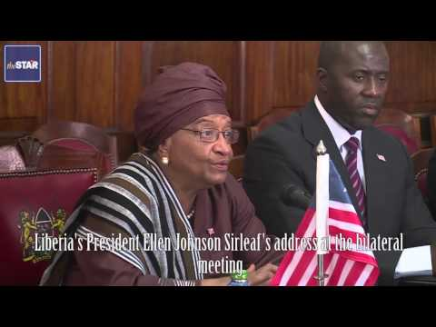 Liberia's President Ellen Johnson Sirleaf in Kenya for first state house