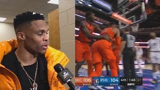 Russell Westbrook Wanna Fight Joel Embiid Then Calls Him Out! Thunder vs Sixers