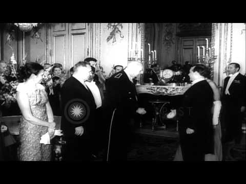 Russian Premier Alexei Kosygin meets President of France, Charles De Gaulle. HD Stock Footage