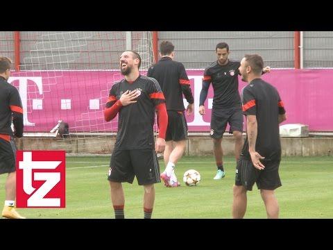 Franck Ribéry: Erst Lachanfall, dann Schlagabtausch - FC Bayern vs. AS Rom (Abschlusstraining)