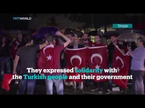 Demonstrations have been held around the world to protest against the coup attempt in Turkey