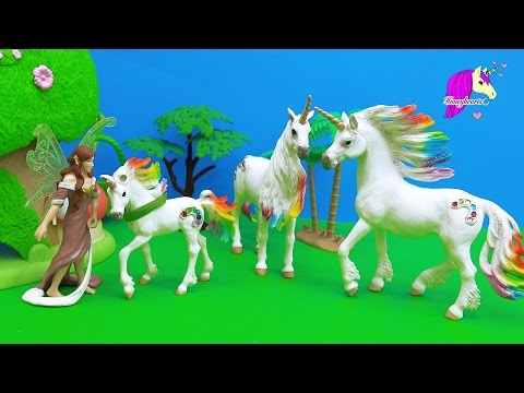 Schleich Fairy Finds Baby Rainbow Unicorn - Honeyheartsc Fantasy Horses Play Video