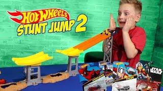 Hot Wheels Stunt Jump Tournament Pt 2 ft Marvel Super Hero Cars!