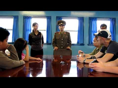 North Korean military officer gives a lecture at the DMZ (September 2009)