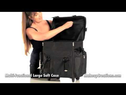 Makeup Cases Professional Large Black Soft Case Rolling