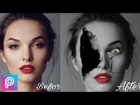 How to make a crack face |Picsart