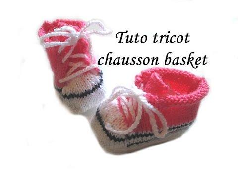 tuto tricot chausson bebe basket au tricot facile youtube. Black Bedroom Furniture Sets. Home Design Ideas