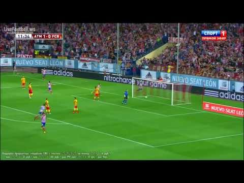 HD David Villa Goal Atletico Madrid vs Barcelona 2013 1 1