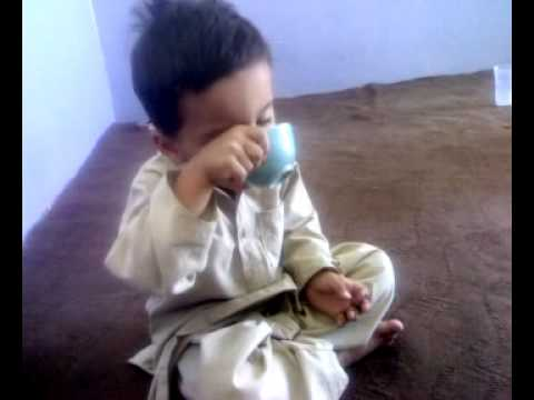 2year 4 Months Old Child Taking Tea At Local Hotel In Quetta video