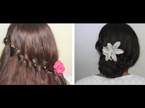 PARTY HAIRSTYLES WATERFALL BRAID BUN/ Christmas/Thanksgiving look