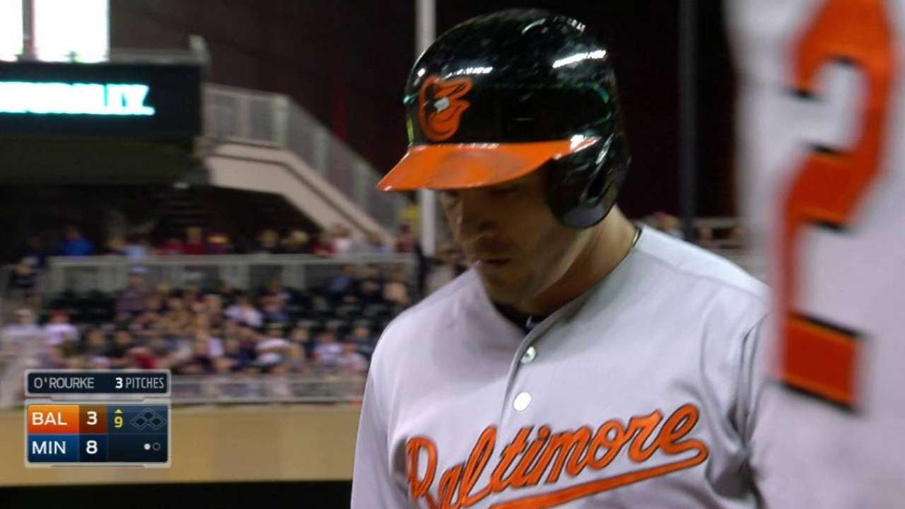 BAL@MIN: O'Rourke records his first career strikeout