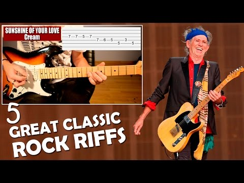 Learn How To Play 5 Great Classic Rock Riffs On Electric Guitar - Video Tab Tutorial TCDG