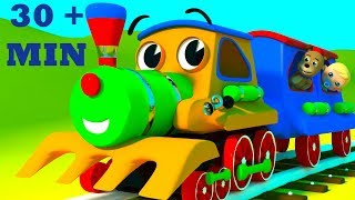 The Wheels On The Train Go Round And Round | Plus Wheels On The Bus By SmartBabySongs