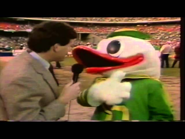 The Oregon Duck gets interviewed before the 1990 Freedom Bowl 12-29-1990