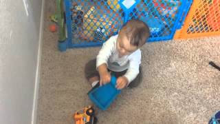 Playing with truck Baby