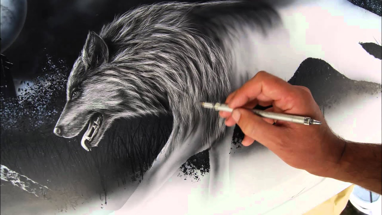Airbrush Wolf Car Opel Astra Youtube