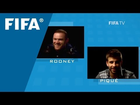 Rooney asks Pique a question
