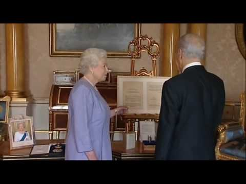 Queen Elizabeth II Knights President Shimon Peres