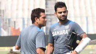 Virat Kohli along with Sachin Tendulkar net practice