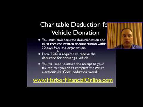Donate a Vehicle to Charity Tax Deduction 2011, 2012
