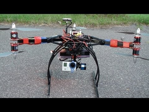 Tarot T-2D Brushless Gimbal Test Flight on Windy Day GoPro 3 Y6 Tricopter Dji Naza GPS