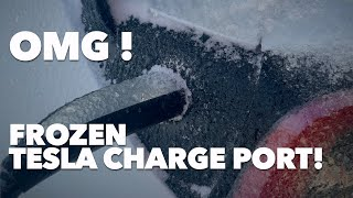Frozen Tesla Charge Port !
