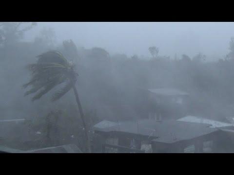 Hurricane Force Eyewall Winds, Large Waves - Typhoon Rammasun 4K Stock Footage Screener