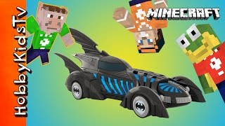 Minecraft BATMOBILE Build Challenge! HobbyFrog + HobbyPig Video Game Time Family Fun HobbyKidsTV