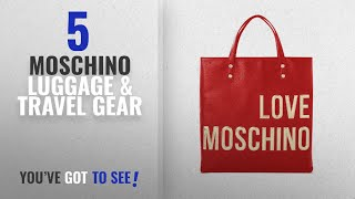 Top 10 Moschino Luggage & Travel Gear [2018]: LOVE MOSCHINO Gold logo square backpack, Red