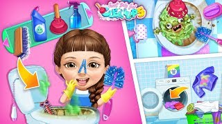 Bathroom Cleaning & Washing Machine Fun   Sweet Baby Girl Cleanup 5   TutoTOONS Cartoons & Kid Games