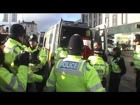UK Uncut Payday - Santa Arrested in Brighton