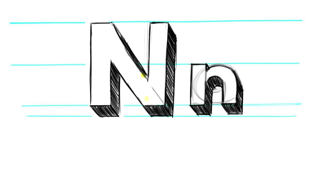 N In Bubble Letters How to Draw 3D Letters N