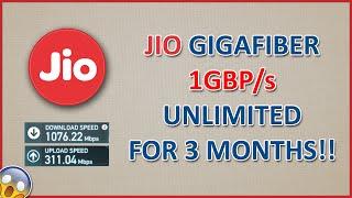Reliance Jio GigaFiber Invitations with Free Unlimited 1Gbps Connection for 3 Months(100Mbps Speed)
