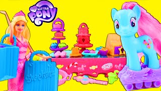 My Little Pony MLP Sweet Rainbow Bakery Rainbow Power Toy Review with Pinkie Pie Barbie