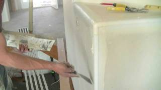 cutting bullnose drywall with a miter