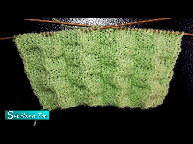 Двухсторонний рельефный узор для шарфа, снуда. Вязание спицами # 624
