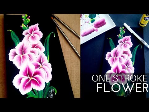How to paint Bunch of Beautiful Flower | Step By Step | DIY | One stroke Gladiolus flower