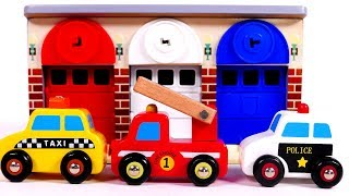 Taxi Police Car Fire Truck Learn Colors with Toy Vehicles and Garage Parking Playset for Kids