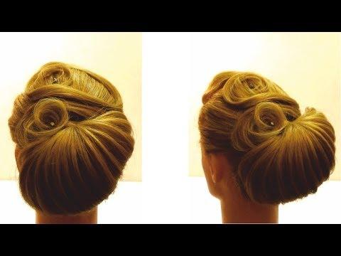Вечерняя прическа на средние волосы.  Прическа своими руками Hairstyle for medium hair