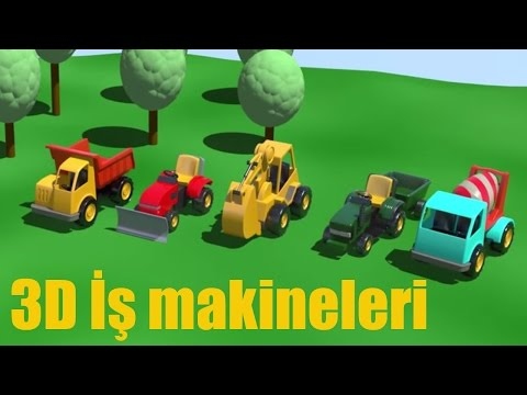 3D çizgi film – İş makineleri çocuk parkında tüm bölümler bir arada