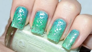 Green Gradient Ombre Nails | Stamping | Градиентный маникюр Стемпинг