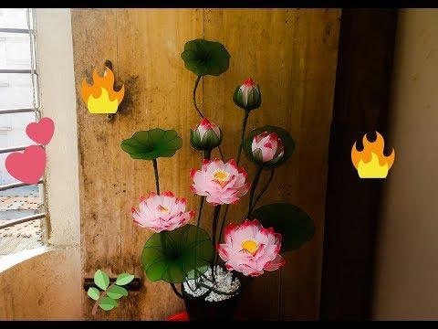 How to make Lotus flower with nylon stocking ☘ thumbnail