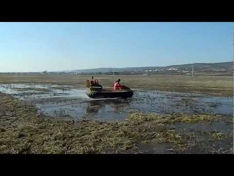 MAD-81L Typhoon hovercraft passing the rough terrain, air cushion vehicle