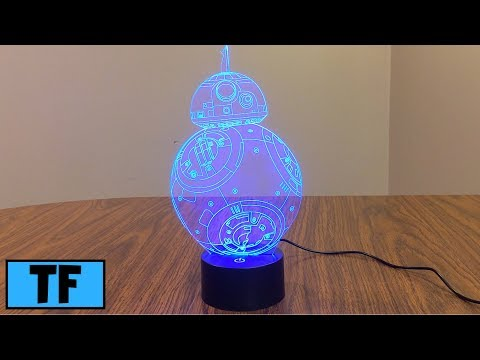 Star Wars 3D Illusion LED BB8 Night Light Lamp Room Desk Decoration Gift Review