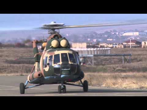 President Sargsyan and escorting helicopters land in Stepanakert airport, Nagorno Karabakh Republic
