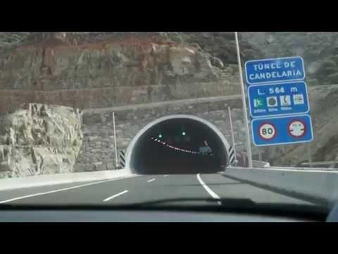 Driving by car from Puerto de Mogan to Playa Del Ingles. Gran Canaria.